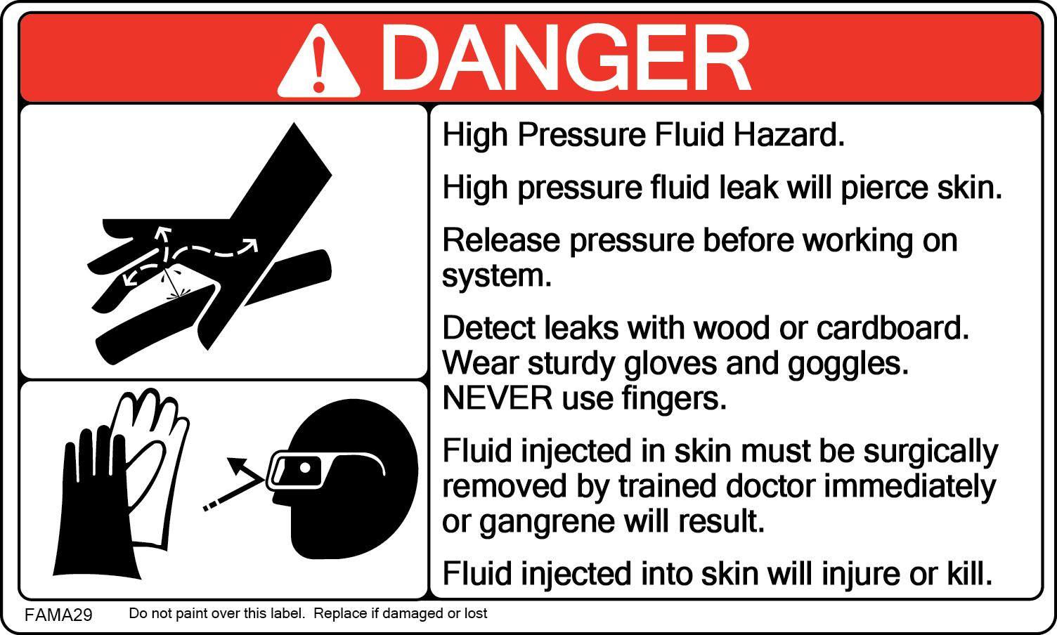 Hydraulic Pressure Safety : Safety sign artwork fama